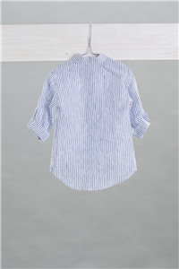 SHIRT MAO LINEN WITH WHITE-BLUE STRIPES