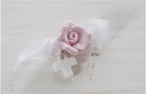 "BAPTISM JEWELLERY ""PINK CLAY ROSE"""