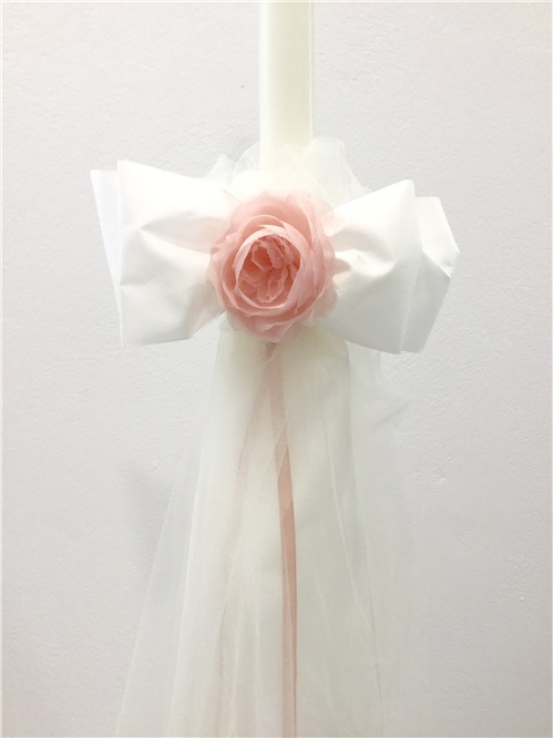 CANDLE WITH BOW AND TULLE