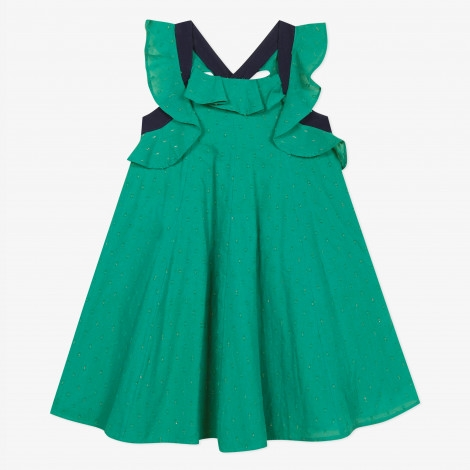 GREEN DRESS WITH GOLD DETAILS CATIMINI