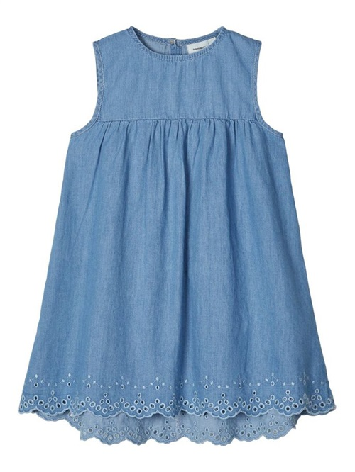 JEAN DRESS WITH BRODERIE DETAILS NAME IT