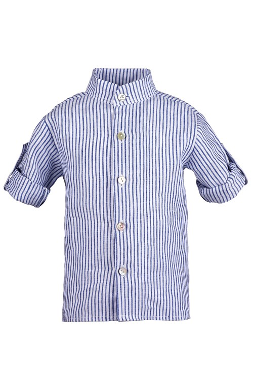 SHIRT LINEN STRIPED BLUE-WHITE