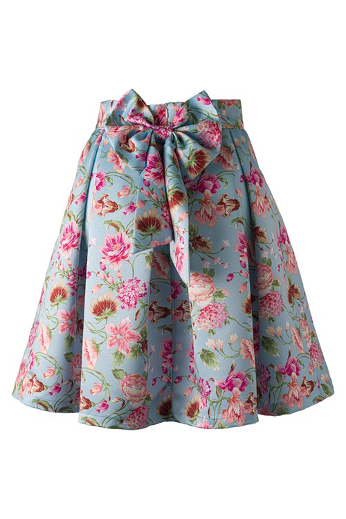 FLORAL LIGHT BLUE SKIRT
