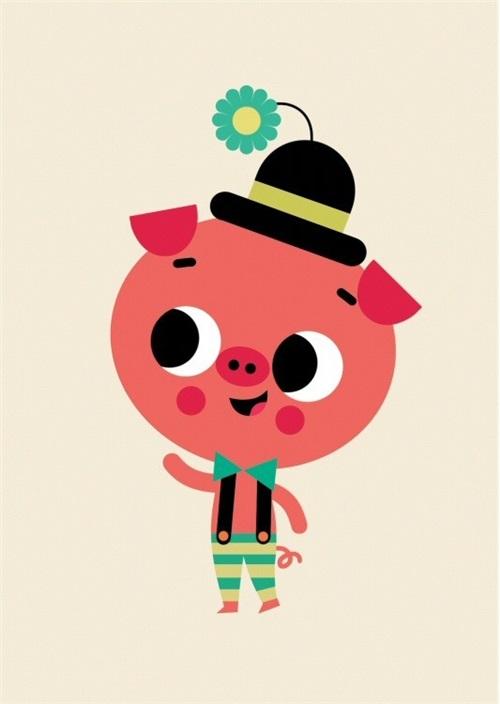 """POSTCARD """"PIG"""" PETIT MONKEY"""
