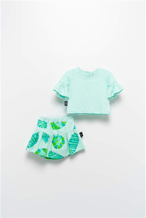 SET TSHIRT-SKIRT MINT TROPICAL MOI NOI