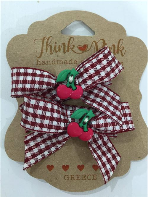 HAIR CLIPS CHERRY THINK PINK