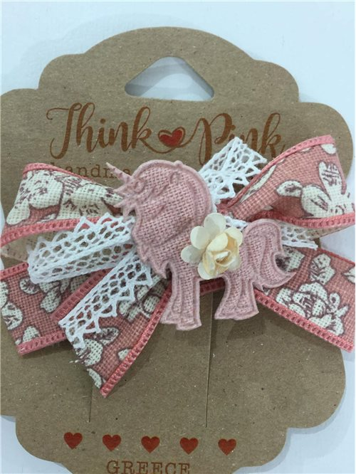HAIR CLIPS UNICORN THINK PINK