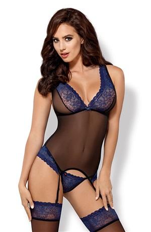 Sexy corset & thong Μαύρο-Μπλε