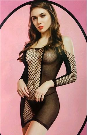 Dress δίχτυ μακρύ μανίκι