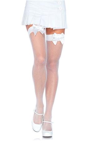 Λευκές κάλτσες δίχτυ με φιόγκο